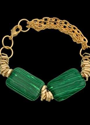 Pulseira folheada à ouro 18k com pedra natural malaquita ref. 430