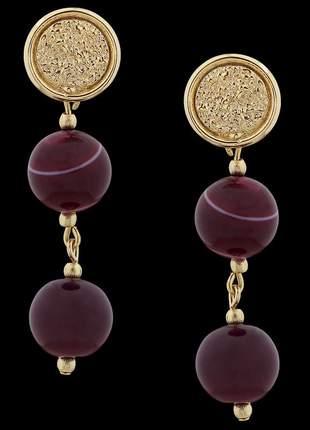 Brinco folheado à ouro com pedra natural ágata rosa ref. 1842