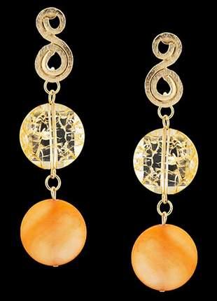 Brinco folheado à ouro 18k madreperola cristal ref. 1780