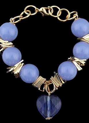 Pulseira folheada à ouro pedra azul ref. 674
