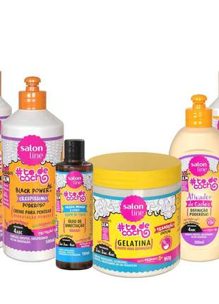 Salon line black power + gelatina + oleo + ativador maionese