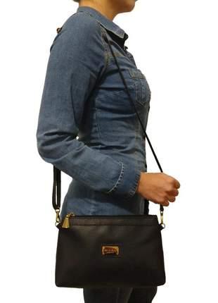 Bolsa carteira clutch topgrife transversal couro preto