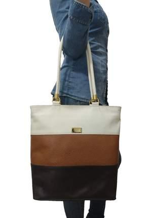Bolsa sacola topgrife shopper couro multicolorido