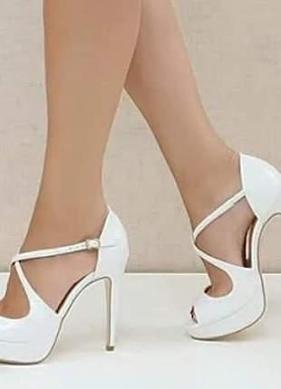 Sandálias femininas noivas vinil salto 12 cm pata 2,5 cm