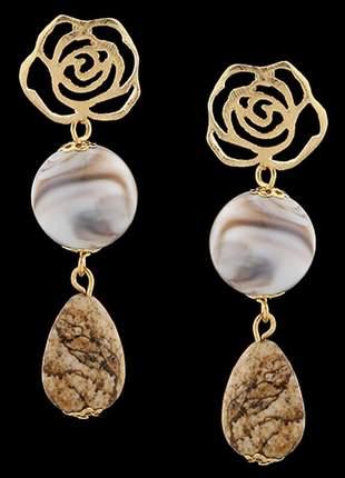 Brinco folheado à ouro 18k pedra madeira ref. 1774