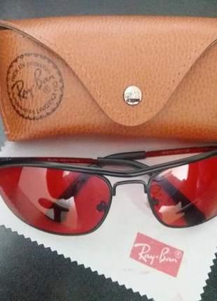 Oculos ray ban demolidor 8012 lentes vermelhas.