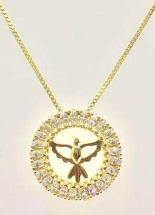 Pingente mini mandala espírito santo, folheado a ouro 18k