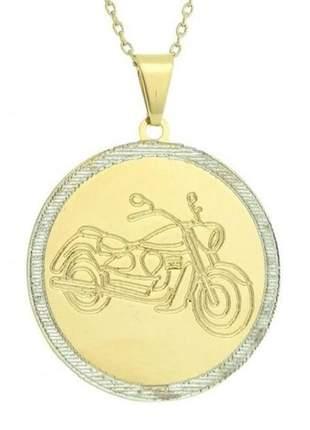 Pingente motociclista, folheado a ouro 18k