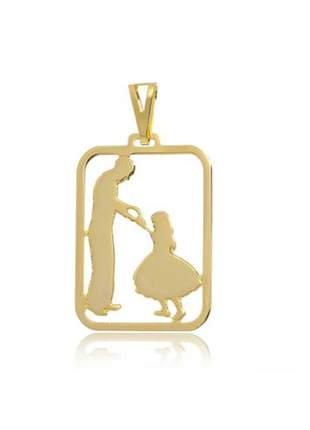Pingente pai e filha, folheado a ouro 18k