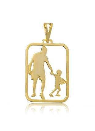Pingente pai e filho, folheado a ouro 18k