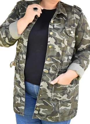 Parca feminina sarja moda plus size militar parka camuflada