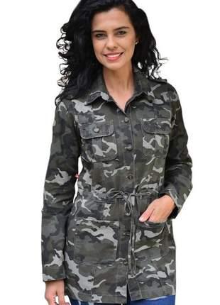 Parka camuflada feminina verde militar casaco frio blazer