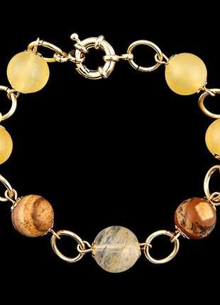 Pulseira folheada à ouro com citrino e pedras naturais ref. 677