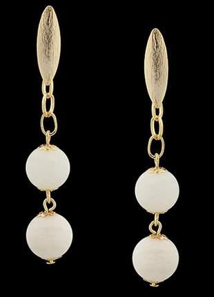 Brinco folheado à ouro 18k madreperola bola ref. 1798