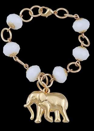 Pulseira folheada à ouro cristais e elefante ref. 567