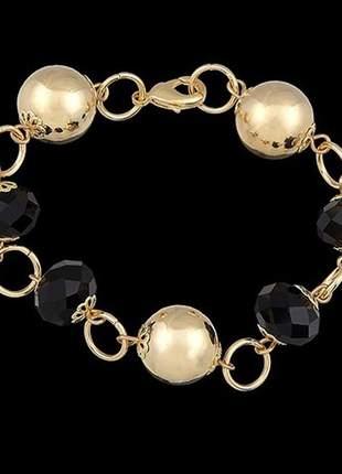 Pulseira folheada à ouro com cristais negros ref. 587