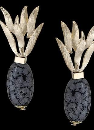 Brinco folheado à ouro com pedra natural ágata rajada ref. 1574