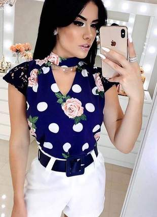 Camisa blusa poa manga curta