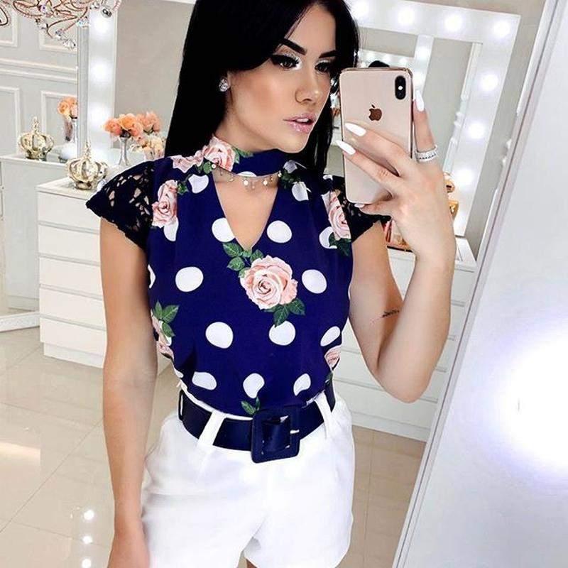 Mariah Chic / Conjunto camisa blusa poa manga curta com short e cinto brinde