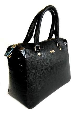 Bolsa de mão com alça tiracolo couro legítimo sagga - ref 60 preta
