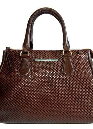 b55917ef39dd4 ... Bolsa de mão feminina em couro legítimo sagga - ref 64 café3 ...