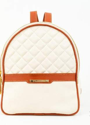 Mini mochila feminina de couro sandora - ref 1008 marfim+whisky
