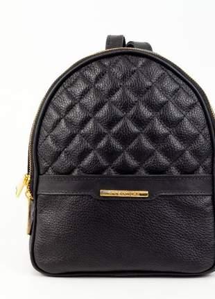 Mini mochila feminina de couro sandora - ref 1008 preta