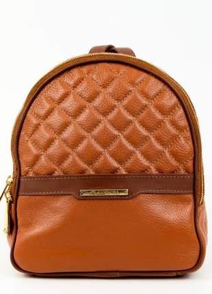 Mini mochila feminina de couro sandora - ref 1008 whisky