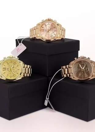 Kit 3 relógios feminino maria luxo