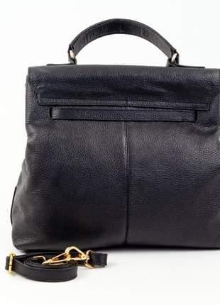 Bolsa de mão com alça longa couro legítimo sagga - ref 1009 preta