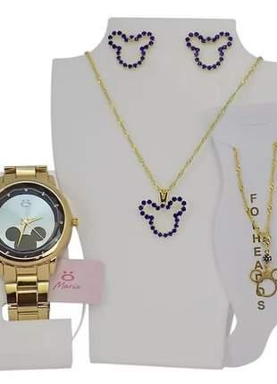 Kit relógio feminino + colar + brinco + tornozeleira da minnie