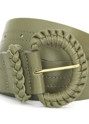 Cinto couro dali shoes fivela tressê  verde militar