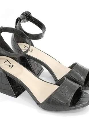 Sandalia dalí shoes salto grosso croco preta