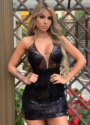 Vestido de tule de paetê com franjas preto