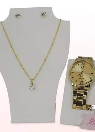Kit relógio feminino + colar + par de brincos
