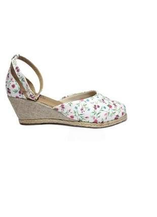 Sandália feminina espadrille flores