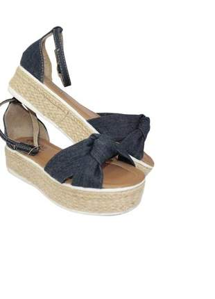Sandália feminina anabela jeans corda salto