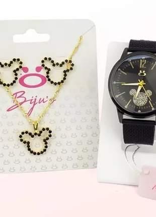 Relógio feminino da minnie + colar e par de brincos de brinde