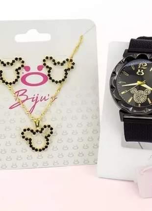 Kit relógio feminino da minnie + colar e par de brincos de brinde