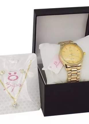 Kit relógio feminino + colar e par de brincos + caixinha/almofada