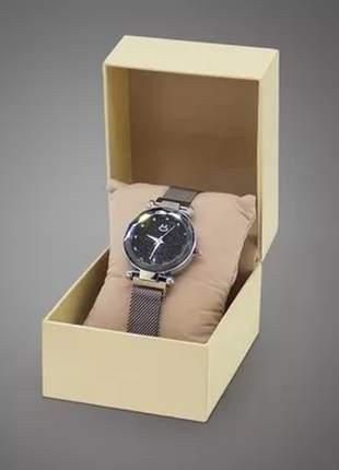Relógio feminino pulseira magnética - prateado/preto