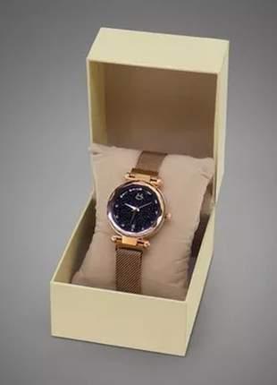 Relógio feminino pulseira magnética - rosé/preto