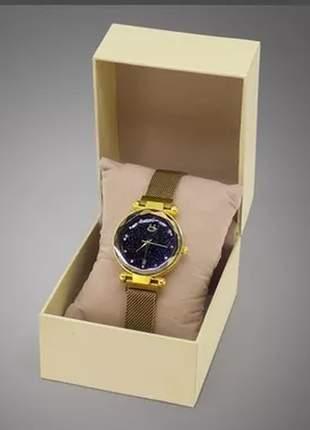 Relógio feminino pulseira magnética - dourado/preto