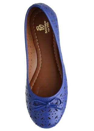 Sapatilha feminina bw em couro legítimo azul bic ref 004