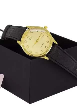 Relógio feminino casual pulseira couro preto