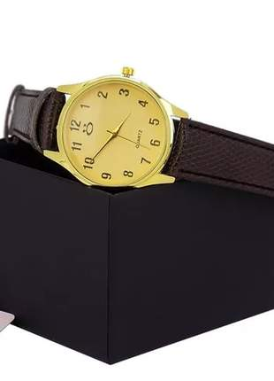 Relógio feminino casual pulseira couro marrom