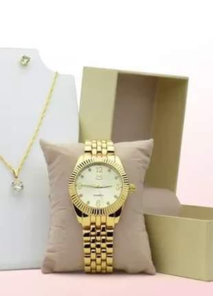 Relógio feminino luxo + colar e par de brincos de brinde
