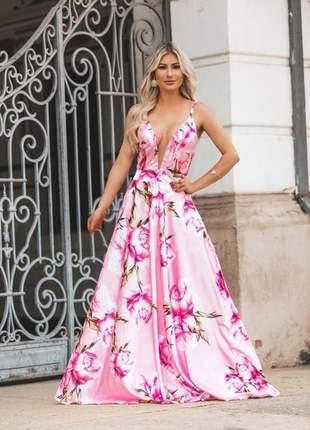 Vestido longo floral madrinha casamento dia formatura