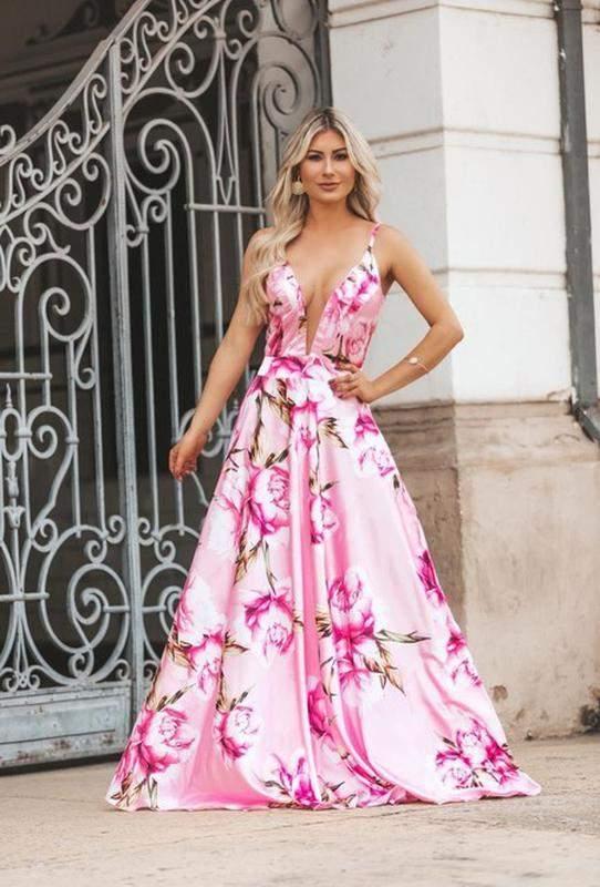 b133fe4f4 Vestido longo floral madrinha casamento dia formatura - R$ 399.00 ...