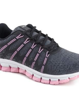 Tênis casual feminino barato esportivo academia fitness let's grafite/rosa